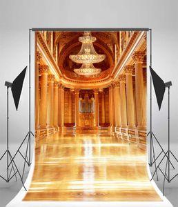 ECZJNT Herrlicher königlicher Palast Hintergrund 150x220 cm Fotografie Hintergrund Europäisches Gebäude Kronleuchter Säulen Boden Video Studio Fotos Requisiten