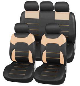 Autositzbezüge Set aus Kunstleder | Upgrade4cars Autositzschoner in Schwarz Beige | Autositzbezug Universal in Leder-Optik | Auto-Zubehör Innenraum