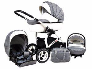 Kinderwagen White Lux Alu,3 in 1 -Set Wanne Buggy Babyschale Autositz mit Zubehör Carbon