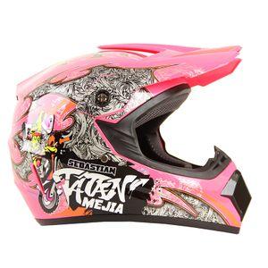 Megacooler Crosshelm Mejia Helm für Kinder pink Größe M; Kinderhelm Motocrosshelm