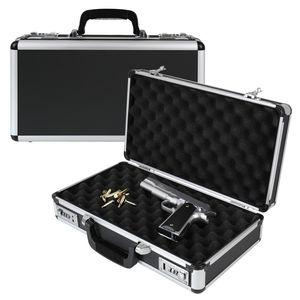 HMF 14403-02 Alu Pistolenkoffer, Kurzwaffenkoffer, Zahlenschloss, Universalkoffer, 42 x 26 x 12 cm
