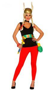 Gallierin Damen Kostüm inklusive Helm, Größe:M/L