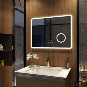 Meykoers LED Badspiegel 80x60cm Beleuchtung Badezimmerspiegel Wandspiegel mit Bluetooth 4.1 Lautsprecher, Touch-Schalter mit 3 Lichtfarbe 3000-6500K, Beschlagfrei, Dimmbar, Vergrößerungsspiegel