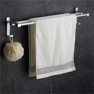 HLLCY Wangel Doppel-Handtuchstange Handtuchhalter ohne Bohren 60cm Patentierter Kleber + Selbstklebender Kleber Aluminium Matte Finish  60cm