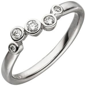 Damen Ring 585 Gold Weißgold 5 Diamanten Brillanten 0,14ct. Diamantring