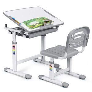 COSTWAY Kinderschreibtisch hoehenverstellbar, Schuelerschreibtisch Kindermoebel neigungsverstellbar, Kindertisch mit Stuhl, Schreibtisch Kinder,Grau