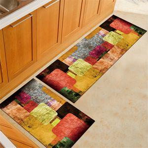 Sunnyme 2Stk Küchen Waschbar rutschfest Küchenmatte Küchenteppich Waschbar Teppich Küche Fußmatte Badematten Set Muster 3
