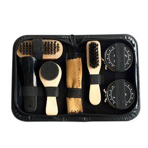 8 STÜCKE Tragbare Schuhputzset Schwarz & Transparent Polnischen Pinsel Set für Stiefel Schuhe Pflege Komplettreiniger Kit[Schwarz]