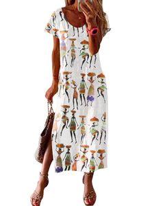 Lässiges kurzärmeliges Hemdkleid mit Retro-Print und langem Kleid für Damen,Farbe: Weiß,Größe:XL