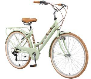 BIKESTAR City Stadt Fahrrad 26 Zoll   16 Zoll Rahmen, 7 Gang Shimano Damen Holland Rad Retro Bike, V-Bremse, Gepäckträger   Mint