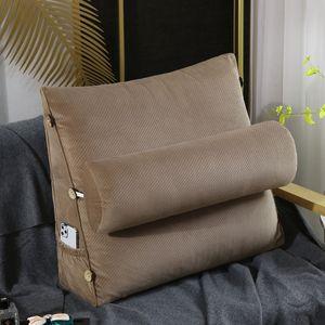 Rückenkissen mit Abnehmbarer Nackenrolle Keilkissen Für Sofa Bett 45x45x20c champagne 17.71 inches