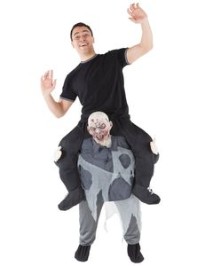 Huckepack-Zombiekostüm Morphsuits Halloween-Kostüm schwarz-grau