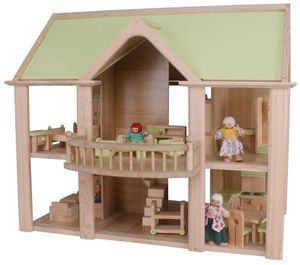 Puppenhaus aus Holz mit Balkon, 4 Puppen, Zubehör und 26 Möbelstücke für Kinder - 2 Spielebenen
