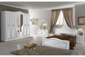 Italienisches Barock Schlafzimmer Livia in Weiß 6-Teilig 180 x 200 cm, 6-türig, TU-LIO-04_1012