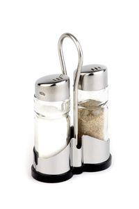 APS Pfeffer- und Salz Menage  /// 8 x 4 cm, H: 13 cm  /// Glas, Edelstahl, ABS  /// 40455