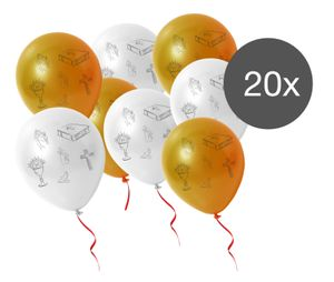 60x Luftballons gold weiß Ballon Dekoration Deko Kommunion Firmung Konfirmation