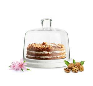 Sendez® Glasglocke auf Marmorplatte Kuchenglocke Käseglocke Tortenplatte Haube