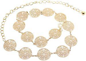 Kettengürtel Gold Damen Mode Metall Kettengürtel für Party Kleider Körper Bauch Taille Kette Bikini Strand Legierung Taille Kette Einstellbare Körperkette 105cm