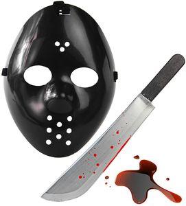 Karneval und Helloween Splatter Set - Jason Maske Schwarz  + Blut Machete