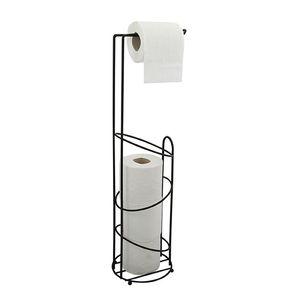 MSV Toilettenpapierhalter Holly Stehend BxHxT: 15x62x15cm freistehender Papierrollenhalter Edler Rollenhalter für WC-Rollen als Ersatzrollenhalter Schwarz matt