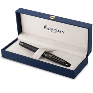 Waterman Expert Tintenroller | Schwarze Metallic-Lackierung mit Ruthenium-Zierteilen | Feine Spitze | Schwarze Tinte | In Geschenkbox