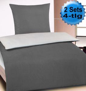 4-tlg. Wende Bettwäsche, 2x (135x200 + 80x80cm), grau silber, uni einfarbig, Reißverschluß, Microfaser
