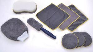 9-tlg. Microfaser Reinigungsset Auto KFZ Reinigung Pflege Politur Bürste Schwamm
