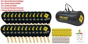 Schildkröt Street Racket Schulset, 24 Holzschläger, 24 Softbälle, Straßenmalkreide zur Spielfeldmarkierung, verpackt in Street Racket Schulsporttasche