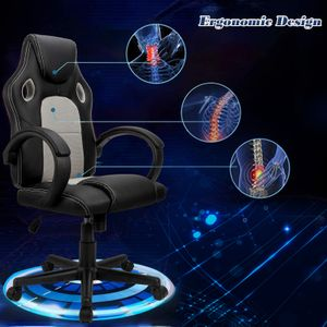 Futurefurniture®Racing Stuhl Bürostuhl Gaming Stuhl Chefsessel Drehstuhl PU, Grau