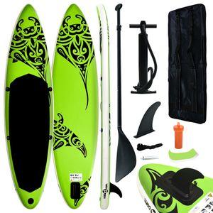 vidaXL Aufblasbares Stand Up Paddle Board Set 320x76x15 cm Grün