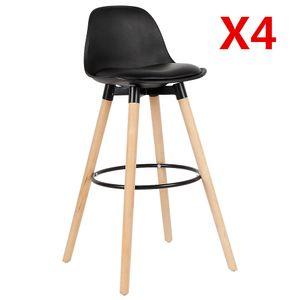 4er Set Barhocker Barstuhl aus Kunststoff Holzgestell mit Lehne Fußstütze Design Stuhl -Schwarz