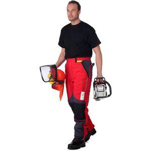 WOODSafe Profi-Schnittschutzhose Klasse 2, Forsthose, kwf-, Bundhose rot/grau, Herren - Waldarbeiterhose mit Schnittschutz Form A, leichtes Gewicht - Größe 50