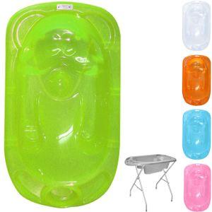 Lorelli anatomische Babybadewanne mit Ständer 95 cm 2 Zonen Ablauf Ablagefächer grün