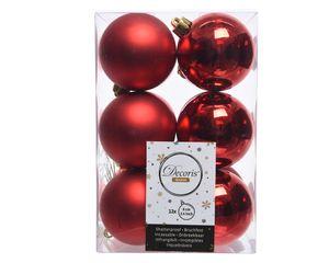 Weihnachtskugeln Kunststoff 6cm, 12 Stück, Farbauswahl:rot