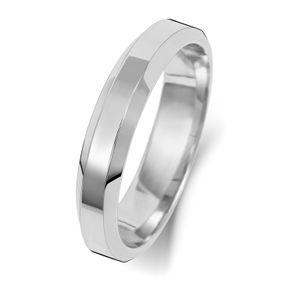 Platin 950 4mm Abgeschrägten Rand Herren/Damen - Trauring/Ehering/Hochzeitsring, 63 (20.1); WJS2415PT950