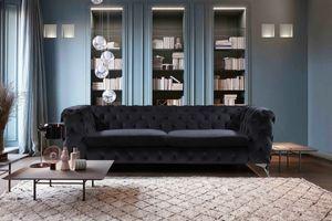 Sofa Chesterfield Stoff 3-Sitzer versch. Farben KAWOLA schwarz NARLA