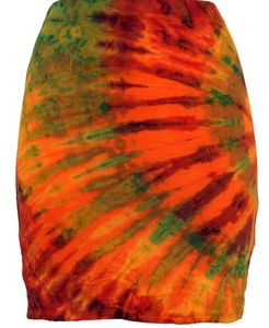 Batikrock, Hippie Batik Minirock, Yogarock, Tube/Schlauchrock - Orange, Damen, Mehrfarbig, Elasthan,Viskose, Röcke / Kurz