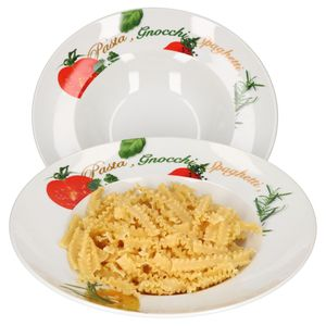 2er Pastateller-Set Milano Aufdruck Ø27cm Porzellan-Teller Gastro Nudeln Pasta Gnocchi Spaghetti