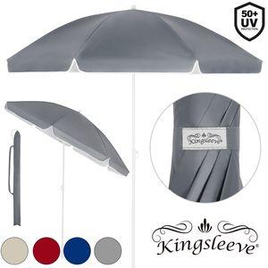 Sonnenschirm UV-Schutz Strandschirm Neigefunktion höhenverstellbar Gartenschirm, Farbe/Größe:rot - 180cm