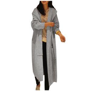 Übergroße Langarm-Strickjacke für Damen Strickjacke Casual Outwear Coat Jacket Größe:XL,Farbe:Grau