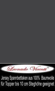 Topper Spannbettlaken 100% Baumwolle Jersey 180x200 - 200x220 cm Anthrazit