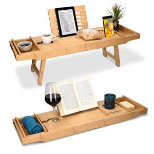 Bambus Badewannenablage Betttablett ausziehbar mit Füßen