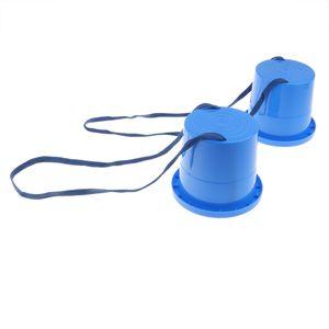 1 Paar Kinder Topfstelzen Laufstelzen Laufdollis Kindergarten Spielzeug, 蓝色 高 柱 高跷 wie beschrieben Blau 2
