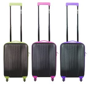 Premium Leonardo Trolley 31L Koffer Reisekoffer Hartschale Boardcase Handgepäck, Farbe:Schwarz/Pink