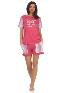 Lässiger Damen Shorty Pyjama kurzarm im College-Look mit Print und abgesetzten Ärmeln, Farbe:pink, Größe:40/42