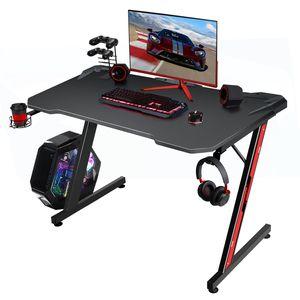 Homall Gaming Tisch 110 CM Schreibtisch Z-Form Computertisch Ergonomischer Pc Tisch mit Getränkehalter und Kopfhörerhalter Spieltisch für Spieler, Schwarz