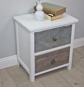 Kommode weiß HOLZ braun antik Landhaus Nachtschrank Nachttisch Sideboard