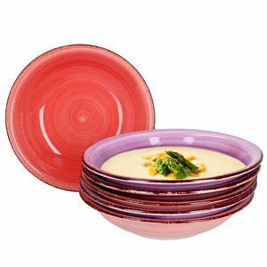 Mambocat Lila Baita 6er Suppenteller Set I 6 Personen I 6 Violett-Töne Soup Bowl