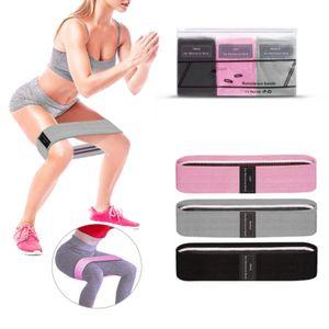 3x Trainingswiderstandsbänder Fitness Booty Leg Gummiband Stretch Band 76 x 8 cm rosa grauer Balck
