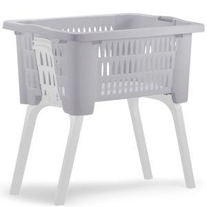 Wäschesammler Wäschewagen Wäschekorb Wäschesortierer Wäschebox mit Beinen, Farbe:braun